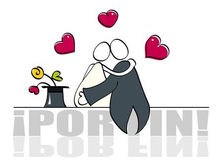 enamorados caricatura: Tarjeta de boda divertido