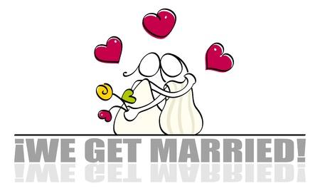 lesben: Lustige lesbische Wedding card Illustration