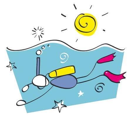 fond marin: Gar�on dr�le de plong�e en apn�e