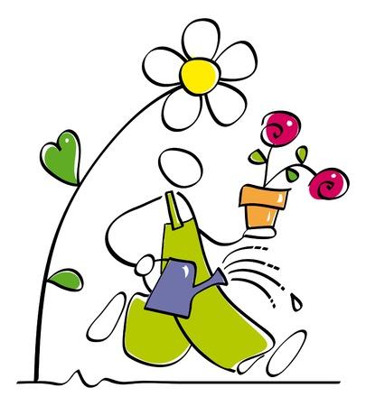 sostenibilit�: divertente giardiniere annaffiare i fiori Vettoriali