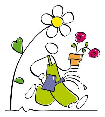 funny gardener watering flowers  Illustration