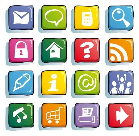 gadget: boutons de couleur internet dr�le pour site Web Mignon Illustration