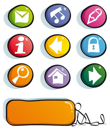 play button: funny web color buttons with icons for cute website Illustration