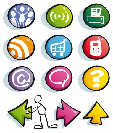 funny web color buttons with icons for cute website Stock Vector - 9686998