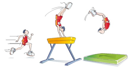 acrobatics: sequences of a man doing artistic gymnastics on the pommel horse Illustration