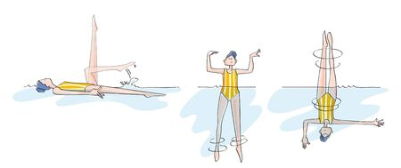 synchronized: sequences of a woman doing pirouettes, practicing synchronized swimming Illustration