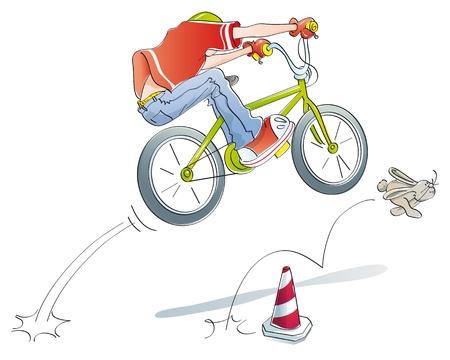 saltar: niño saltando con su bicicleta, jugar al estilo bmx