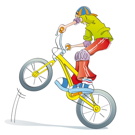 boy doing tricks and pirouettes on his bike, playing style bmx Stock Photo