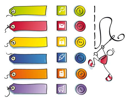 funny color icons and etiquettes for a cute web of clothes Stock Vector - 9686997