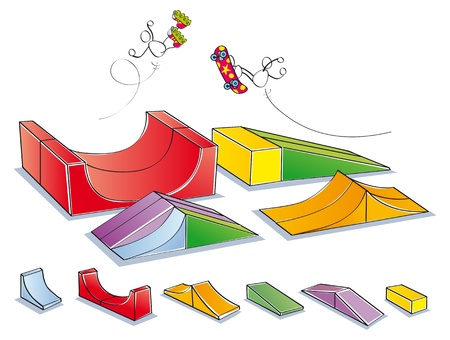 skatepark to do skateboard tricks and jumps Illustration