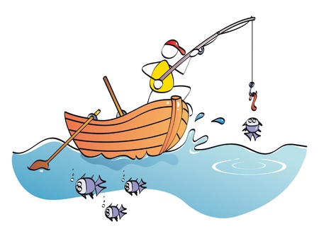 bricolage: man in his boat catching fishes Illustration