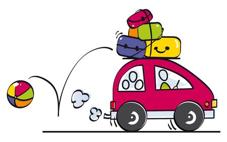 family goes on holiday by car with luggage