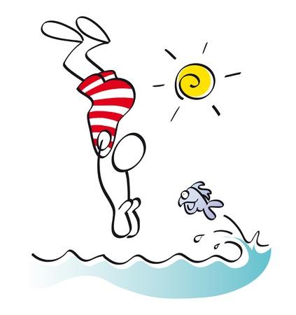 fond marin: nage de l'homme dans la mer en vacances d'�t� Banque d'images