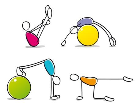 educacion fisica: personas divertidas practicando pilates Foto de archivo