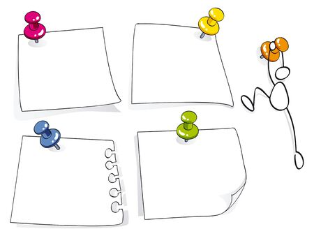 stickers: memo papers with color pins