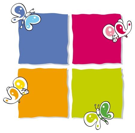cadres avec des papillons colorés