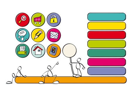 comunication: color icons and for children websites Illustration