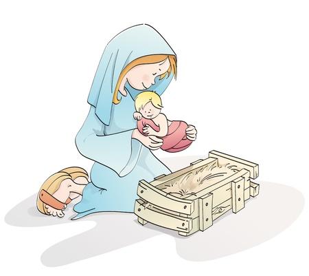 virgen maria: Virgen con el ni�o Jes�s en un pesebre Foto de archivo
