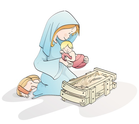 virgin mary with baby Jesus in a manger Stock Photo - 10486912