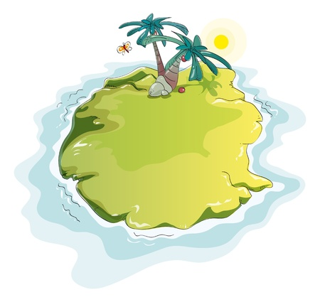 lonesome: lonely green island with palm trees