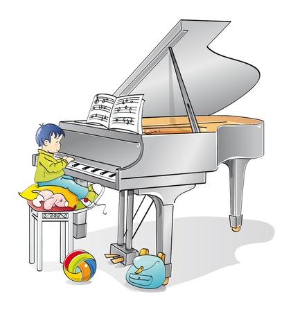 piano de cola: M�sico infantil aprendiendo a tocar el piano Foto de archivo