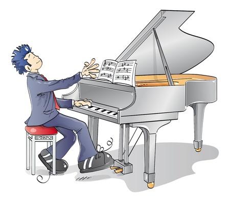 鋼琴: 男子在鋼琴上演奏旋律