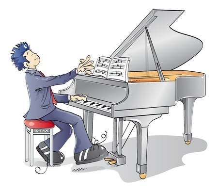 prodigio: uomo che suonava una melodia al pianoforte Archivio Fotografico