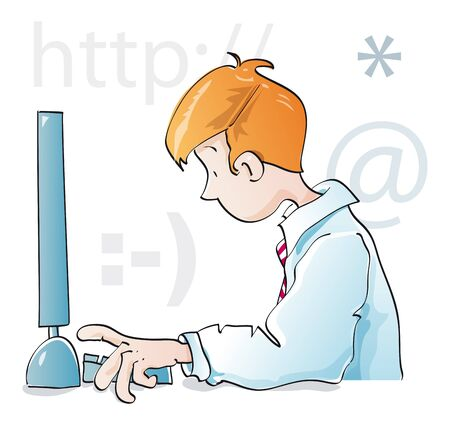 surfing the net: young guy working with computer Stock Photo