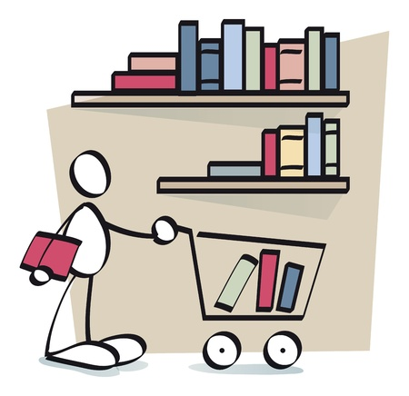 book shop: funny man buying e-books in a webpage Stock Photo