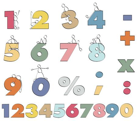 funny color numbers Stock Photo