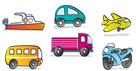 locomotion: motor vehicles, boat, car, plane, bus, truck and motorcycle