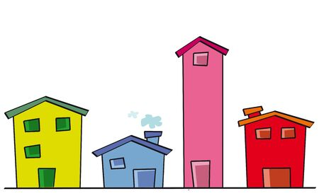 cute color houses for sale Stock Photo