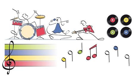 partition musique: dr�le groupe pop avec des tambours, chant et guitare