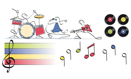 musical score: funny pop group with drums, vocals and guitar