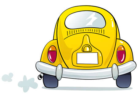 rear wheel: funny Yellow beetle Illustration