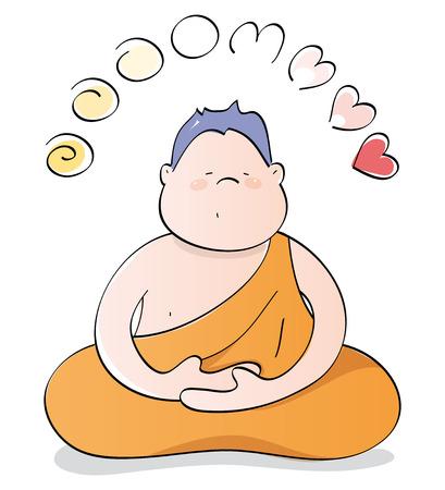 幸せなブッダの瞑想  イラスト・ベクター素材