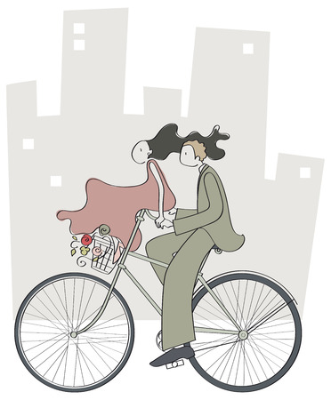 Happy couple strolling through the city bike Illustration