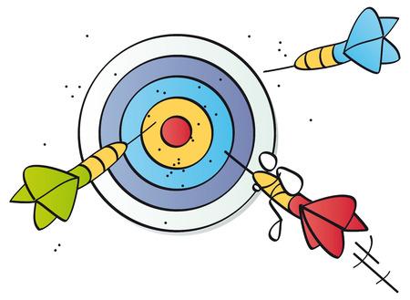 Funny darts hitting the target