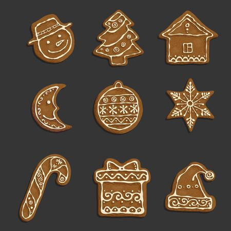 Set of the hand-drawn objects Christmas cookies. Illustration