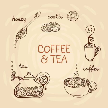The decorative design elements: teapot, cups of coffee, spoon of honey and cookies