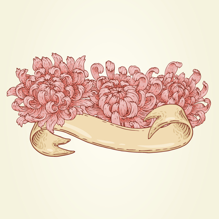 The hand-drawn image with ribbon and pink chrysanthemum.