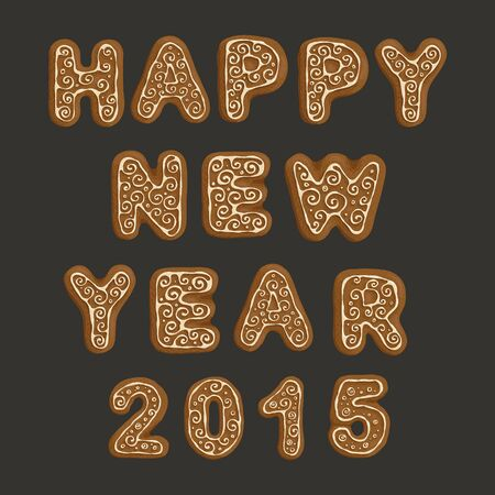 The inscription from ginger cookies Happy New Year 2015.