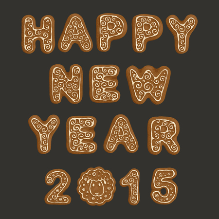 The inscription from ginger cookies Happy New Year 2015 with funny lamb instead of zero.