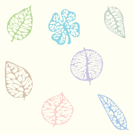 The hand-drawn seamless pattern with decorative skeleton leaves in pastel colors.