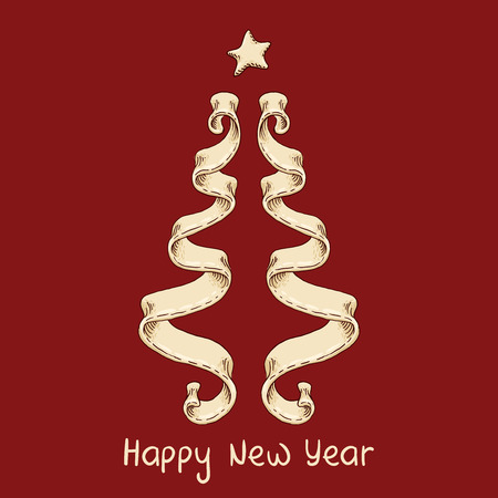 The hand-drawn element of design with new year tree from ribbon.
