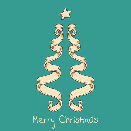 The hand-drawn element of design with Christmas tree from ribbon.  Illustration