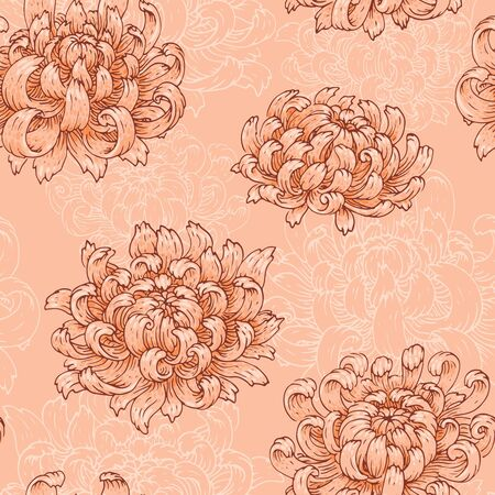 The seamless pattern with pink chrysanthemums.