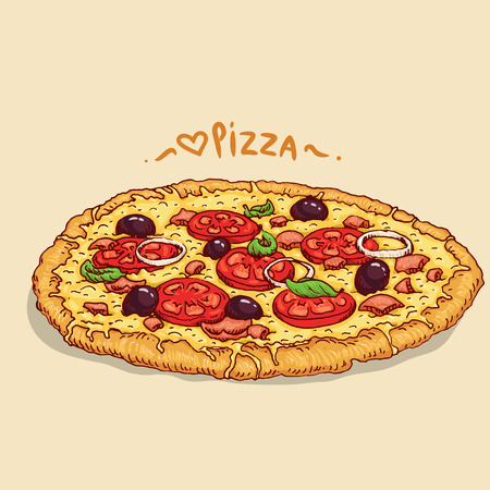 Hand-draw pizza.  Illustration