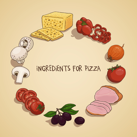 Hand-drawn ingredients for pizza. Cheese, pepper, onion, tomato, ham, olive and mushrooms.