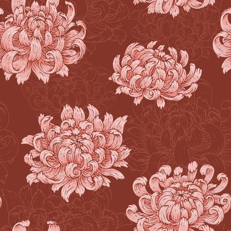 The seamless pattern with pink chrysanthemum.